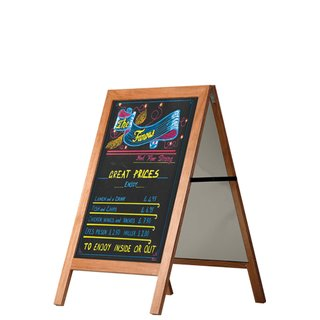 Wooden Pavement Sign with Blackboard 60x80cm