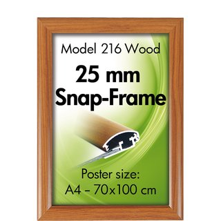 ALU SNAP-FRAME 25mm (G) A4 wooden finish
